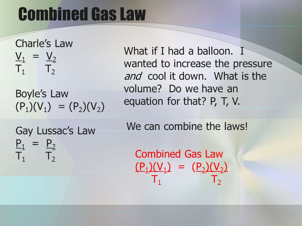 Combined Gas Law Charle's Law V1 = V2