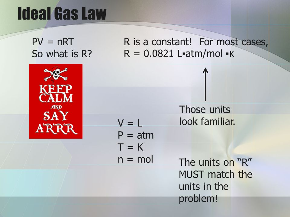 Ideal Gas Law PV = nRT So what is R R is a constant! For most cases,