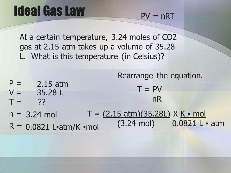Ideal Gas Law PV = nRT.