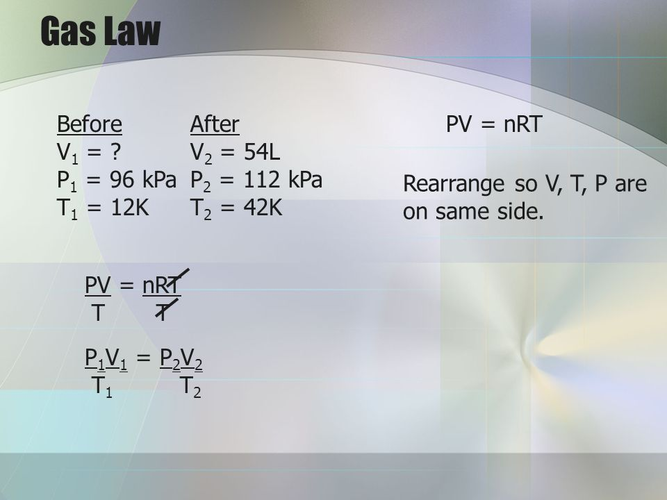 Gas Law Before After V1 = V2 = 54L P1 = 96 kPa P2 = 112 kPa