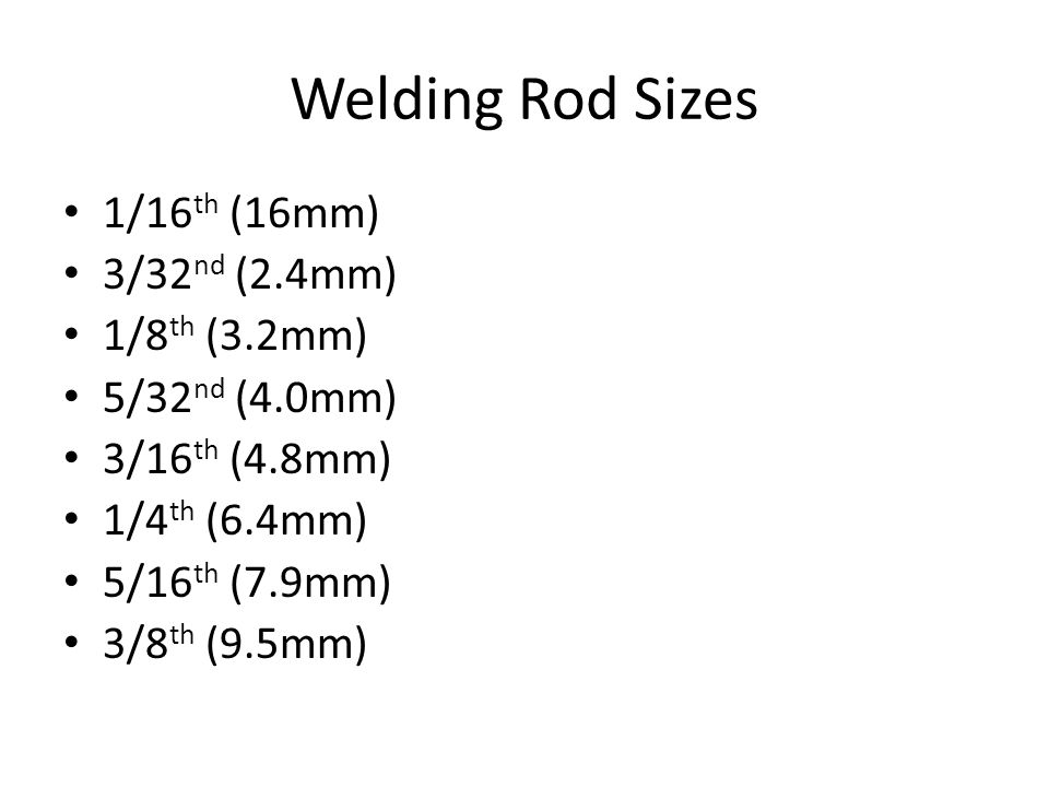 Welding Rod Sizes 1/16th (16mm) 3/32nd (2.4mm) 1/8th (3.2mm)