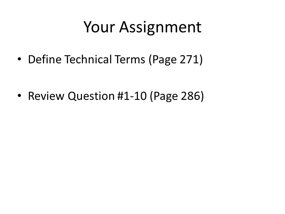 Your Assignment Define Technical Terms (Page 271)