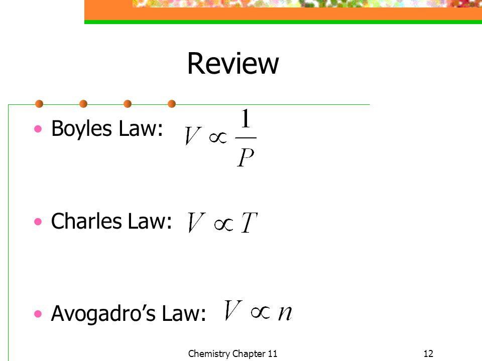 Review Boyles Law: Charles Law: Avogadro's Law: Chemistry Chapter 11