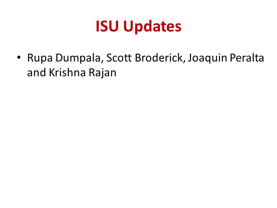 ISU Updates Rupa Dumpala, Scott Broderick, Joaquin Peralta and Krishna Rajan