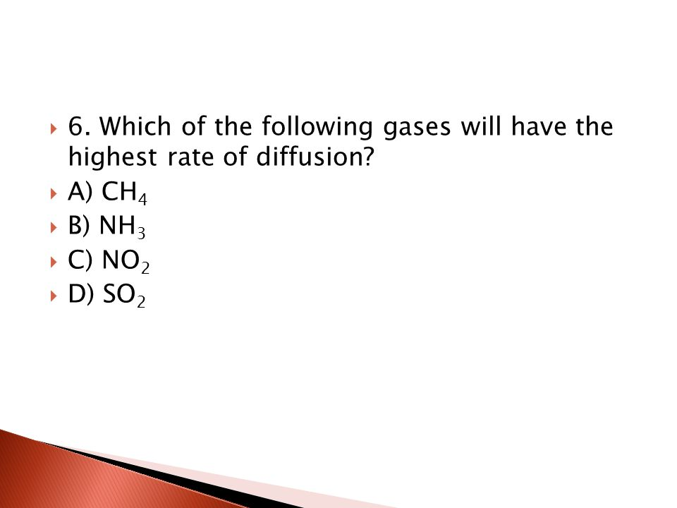 6. Which of the following gases will have the highest rate of diffusion