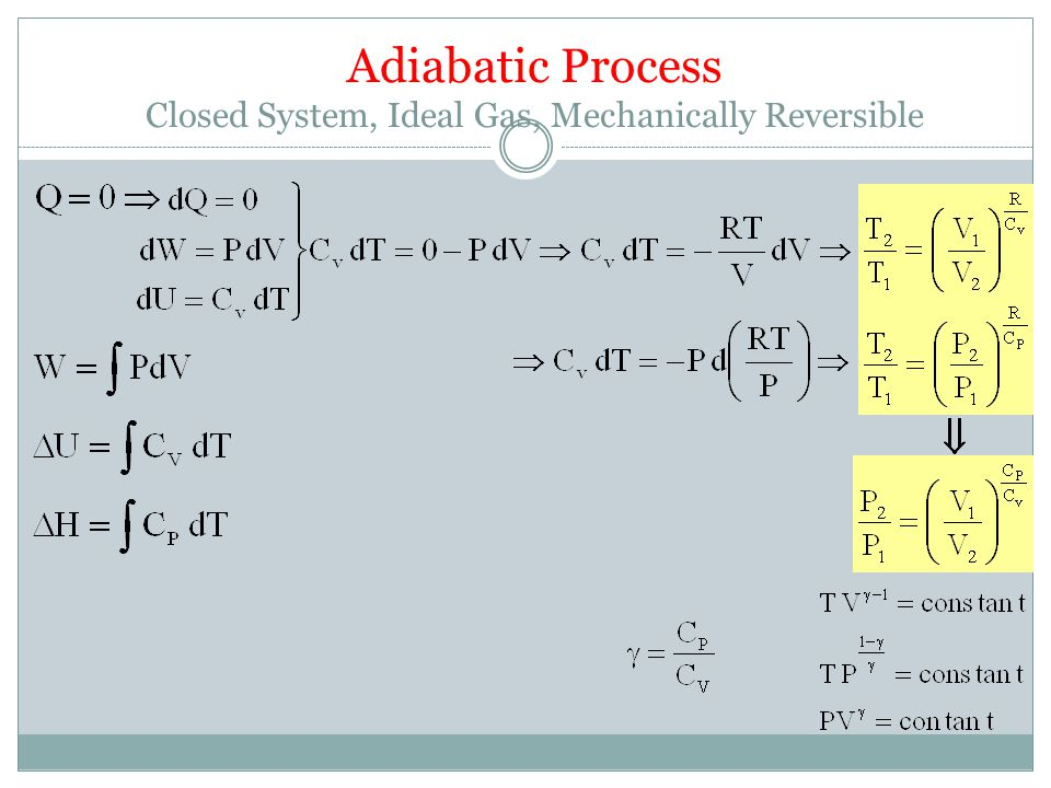 Adiabatic Process Closed System, Ideal Gas, Mechanically Reversible