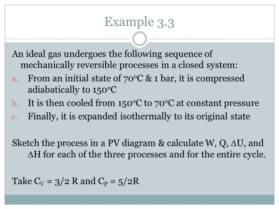 Example 3.3 An ideal gas undergoes the following sequence of mechanically reversible processes in a closed system: