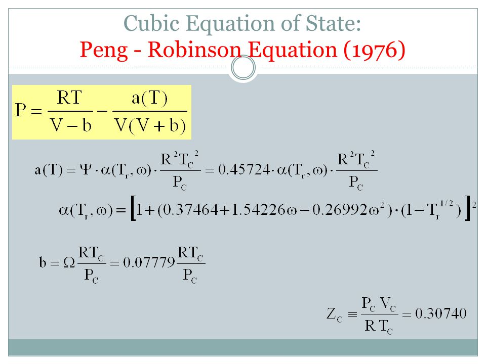 Cubic Equation of State: Peng - Robinson Equation (1976)