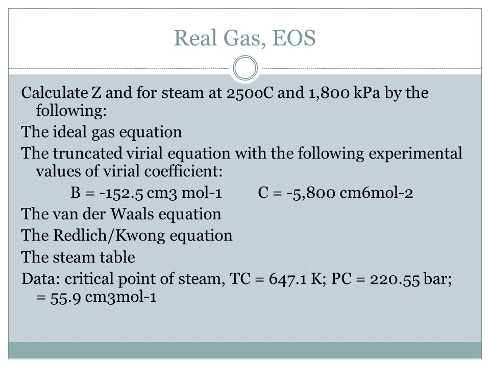 Real Gas, EOS