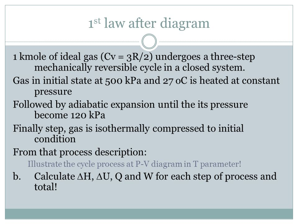 1st law after diagram 1 kmole of ideal gas (Cv = 3R/2) undergoes a three-step mechanically reversible cycle in a closed system.