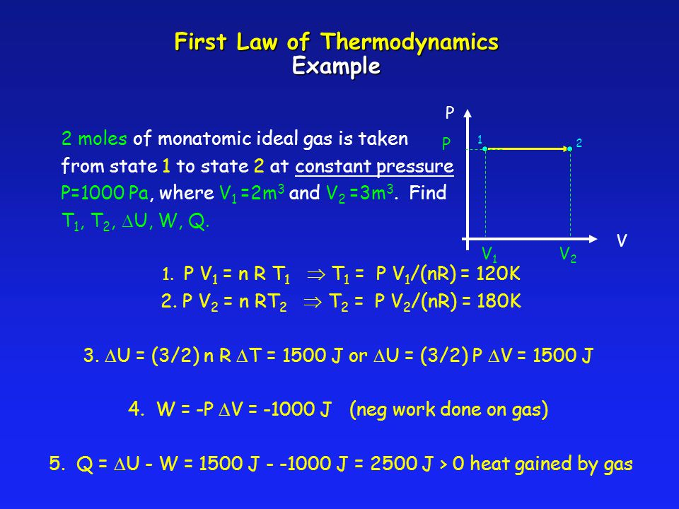 First Law of Thermodynamics Example