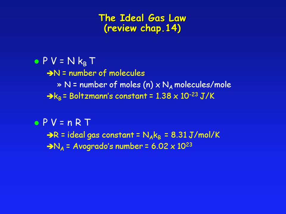 The Ideal Gas Law (review chap.14)