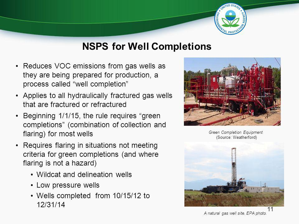 NSPS for Well Completions