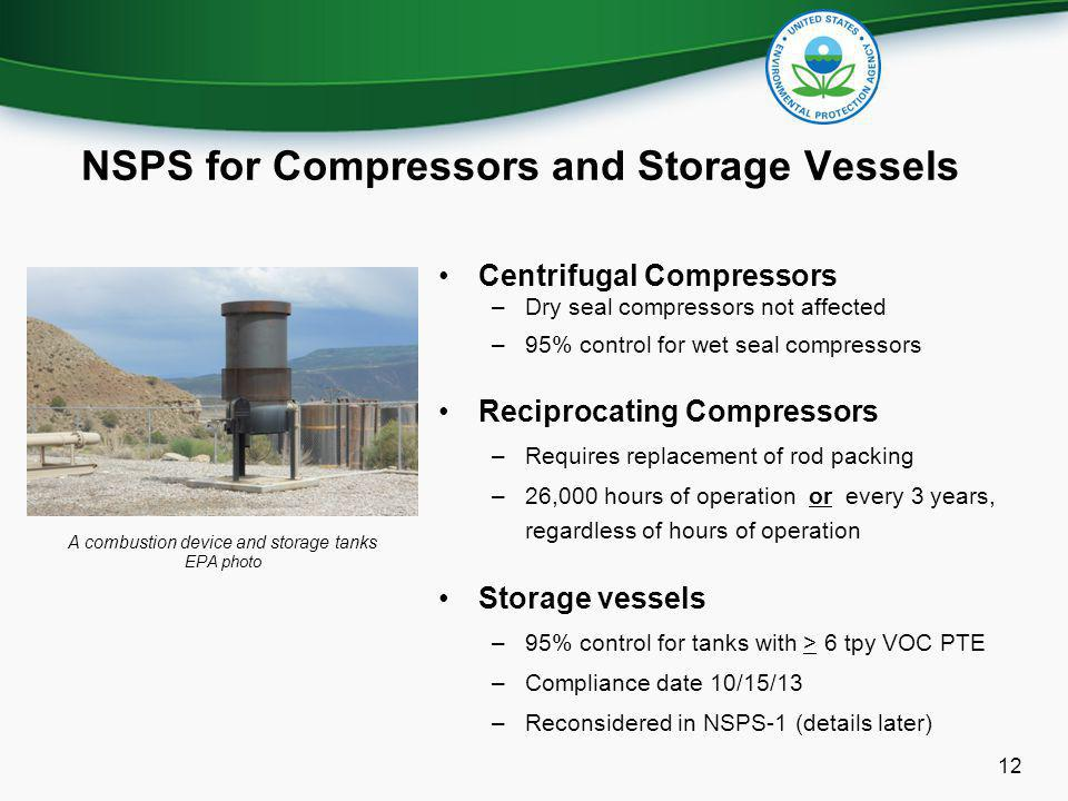 NSPS for Compressors and Storage Vessels