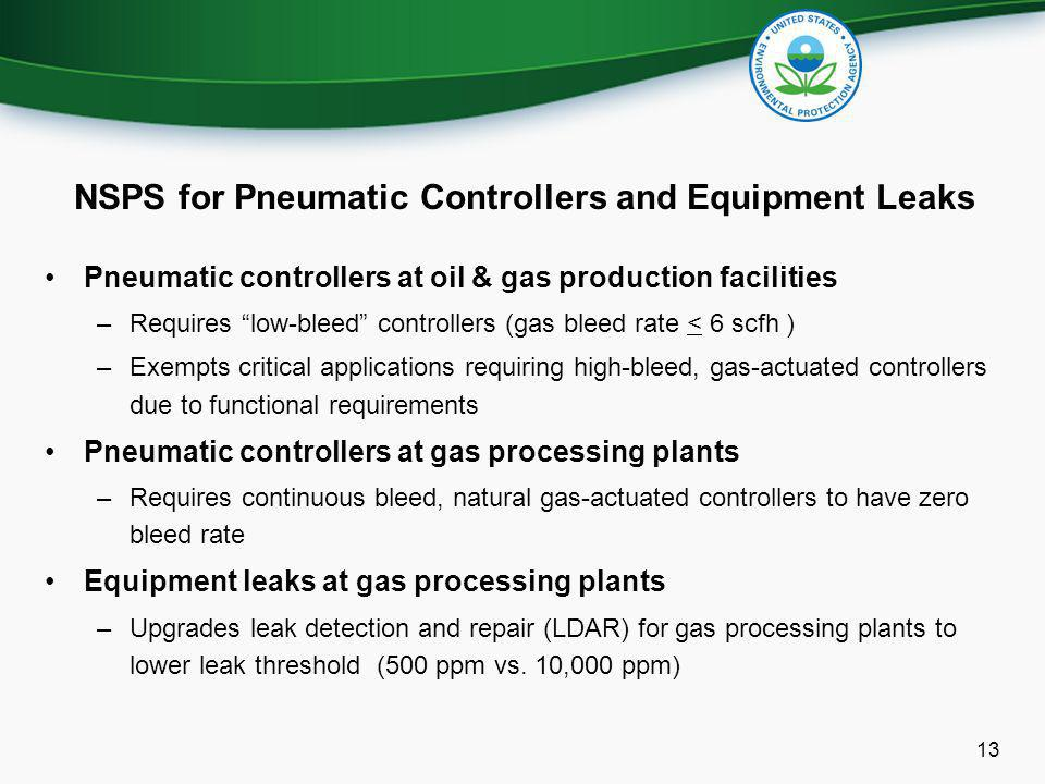 NSPS for Pneumatic Controllers and Equipment Leaks