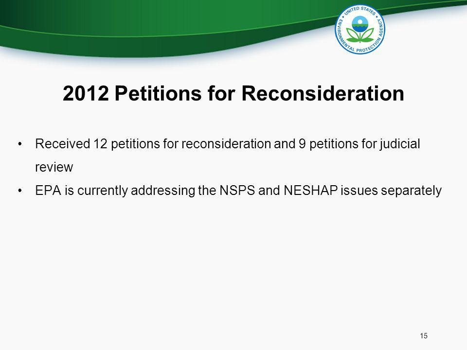 2012 Petitions for Reconsideration