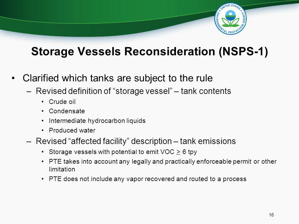 Storage Vessels Reconsideration (NSPS-1)
