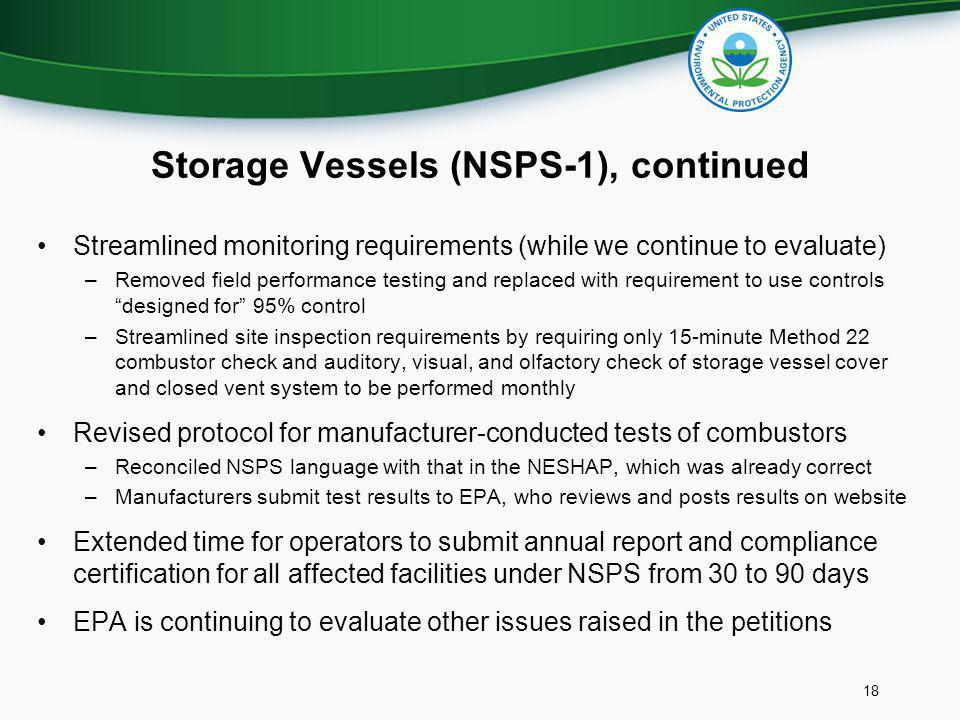 Storage Vessels (NSPS-1), continued