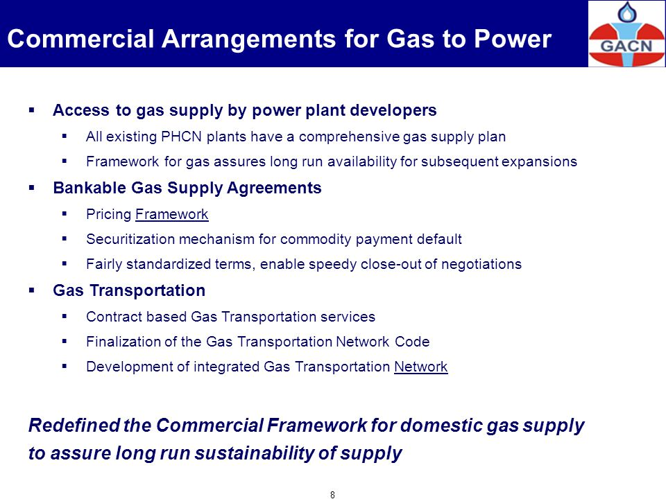 Commercial Arrangements for Gas to Power