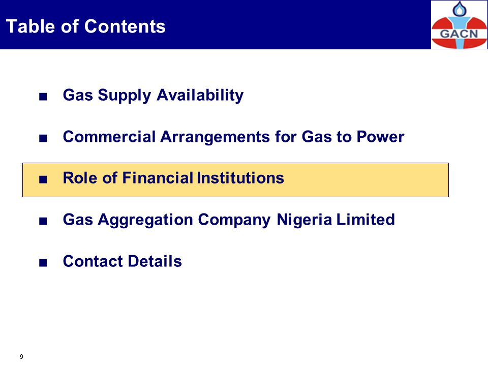 Table of Contents Gas Supply Availability