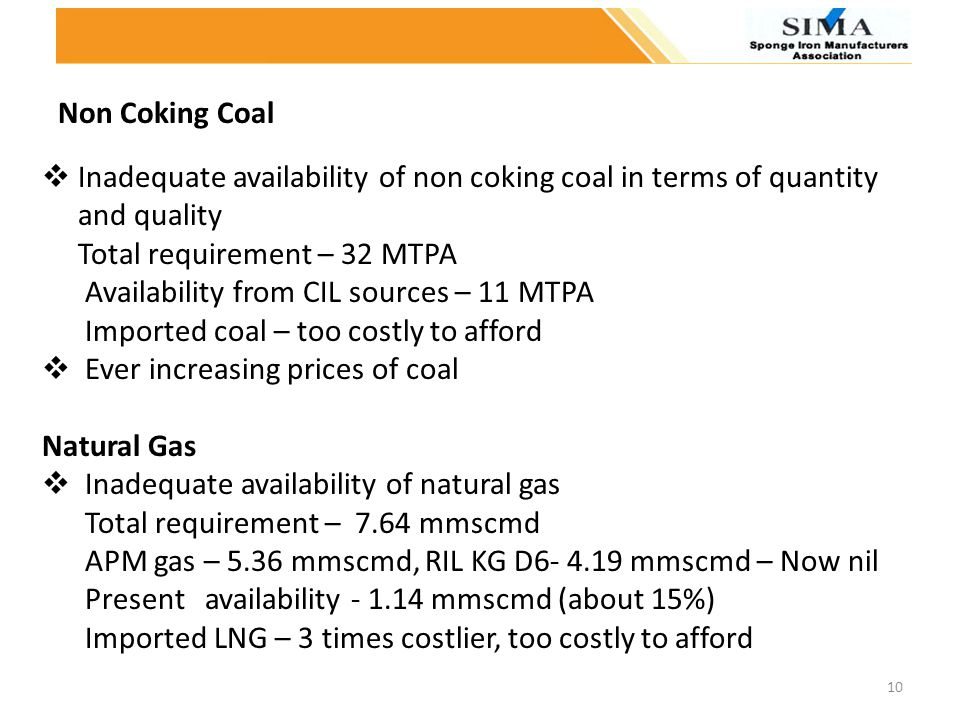 Non Coking Coal Inadequate availability of non coking coal in terms of quantity. and quality. Total requirement – 32 MTPA.
