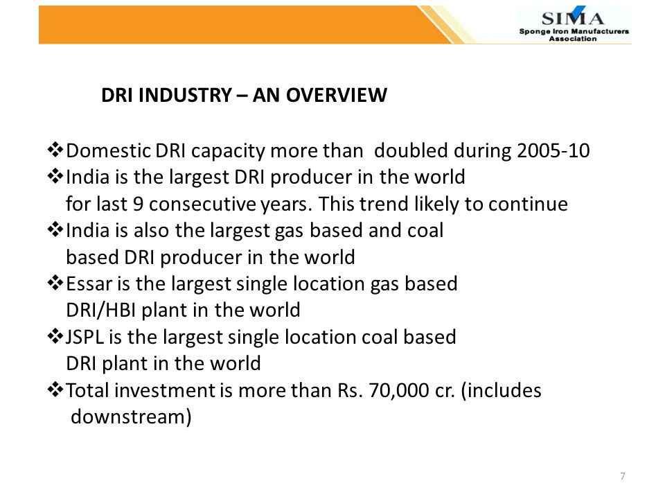 DRI INDUSTRY – AN OVERVIEW