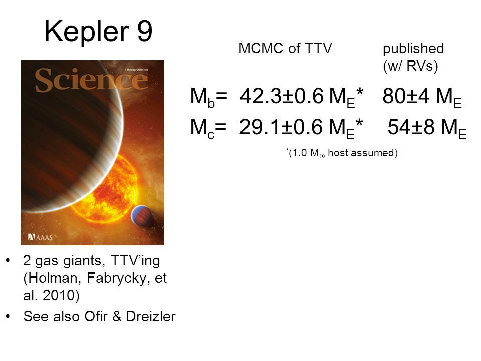 Kepler 9 Mb= 42.3±0.6 ME* 80±4 ME Mc= 29.1±0.6 ME* 54±8 ME