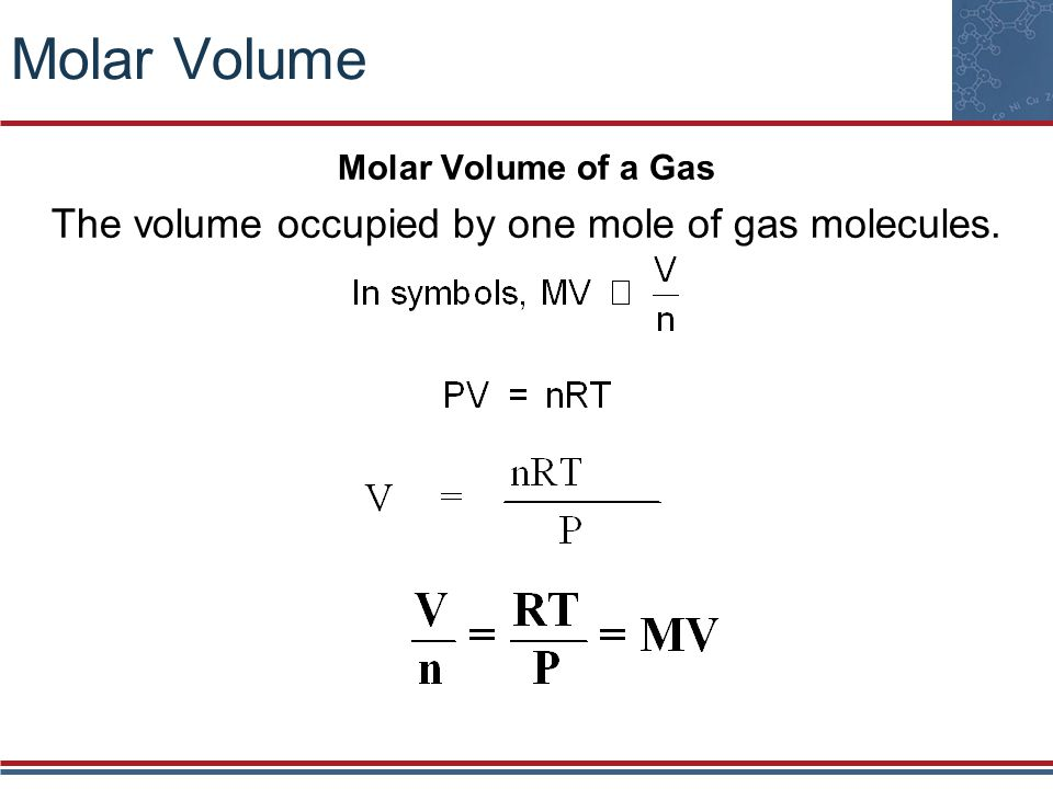The volume occupied by one mole of gas molecules.