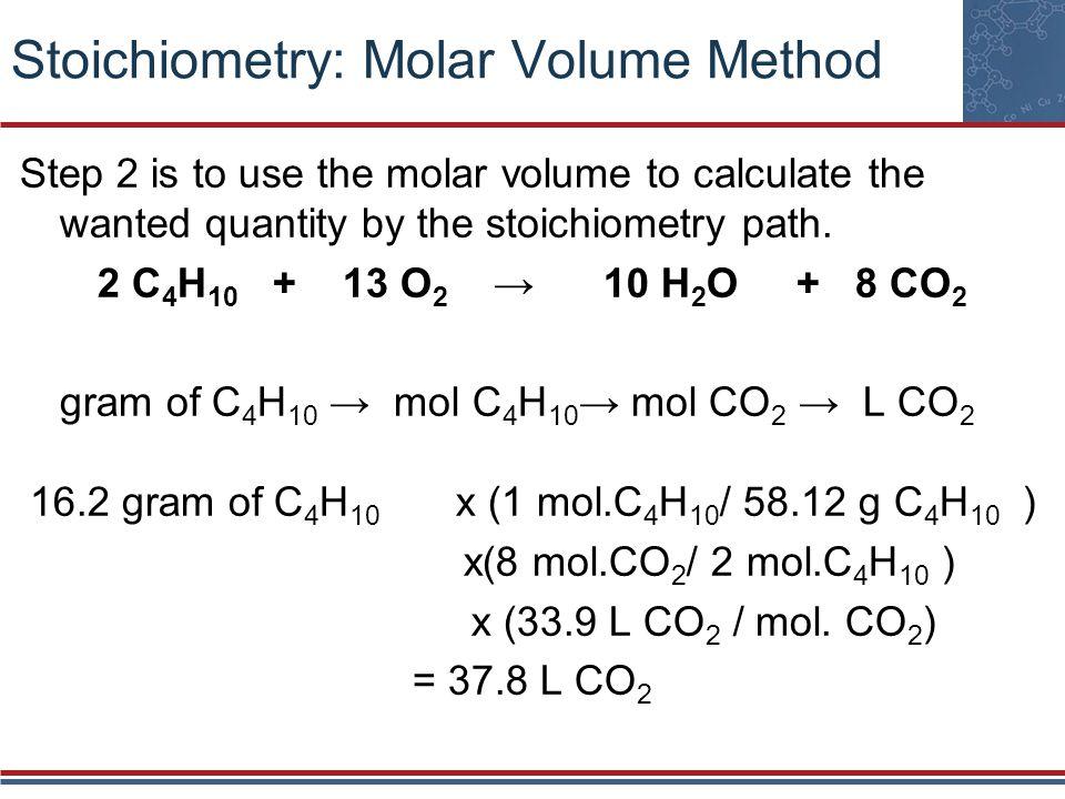 Stoichiometry: Molar Volume Method