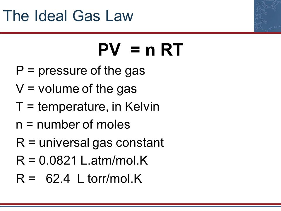PV = n RT The Ideal Gas Law P = pressure of the gas