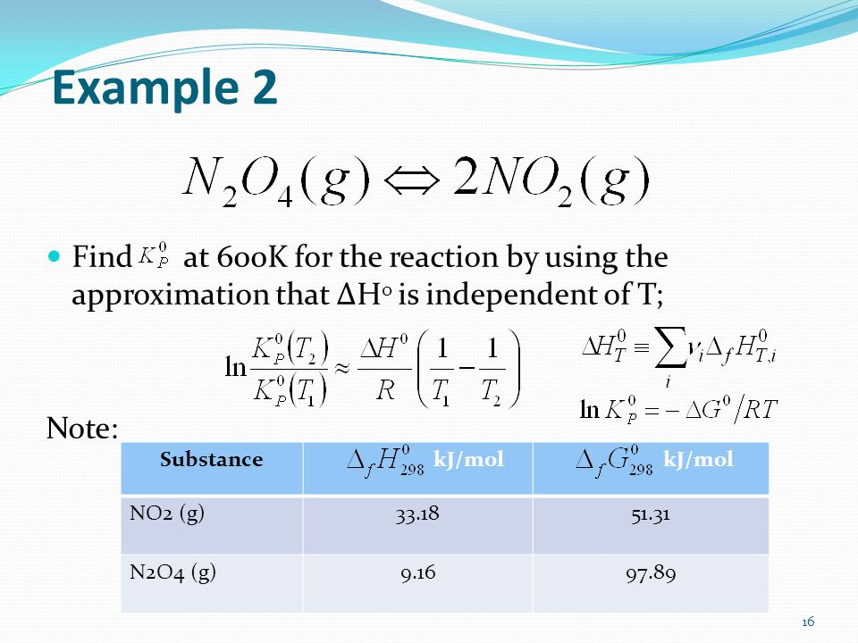 Example 2 Find at 600K for the reaction by using the approximation that ΔH0 is independent of T;