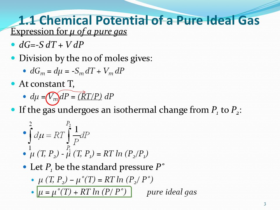 1.1 Chemical Potential of a Pure Ideal Gas