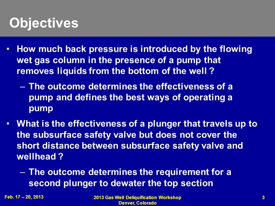 2013 Gas Well Deliquification Workshop Denver, Colorado