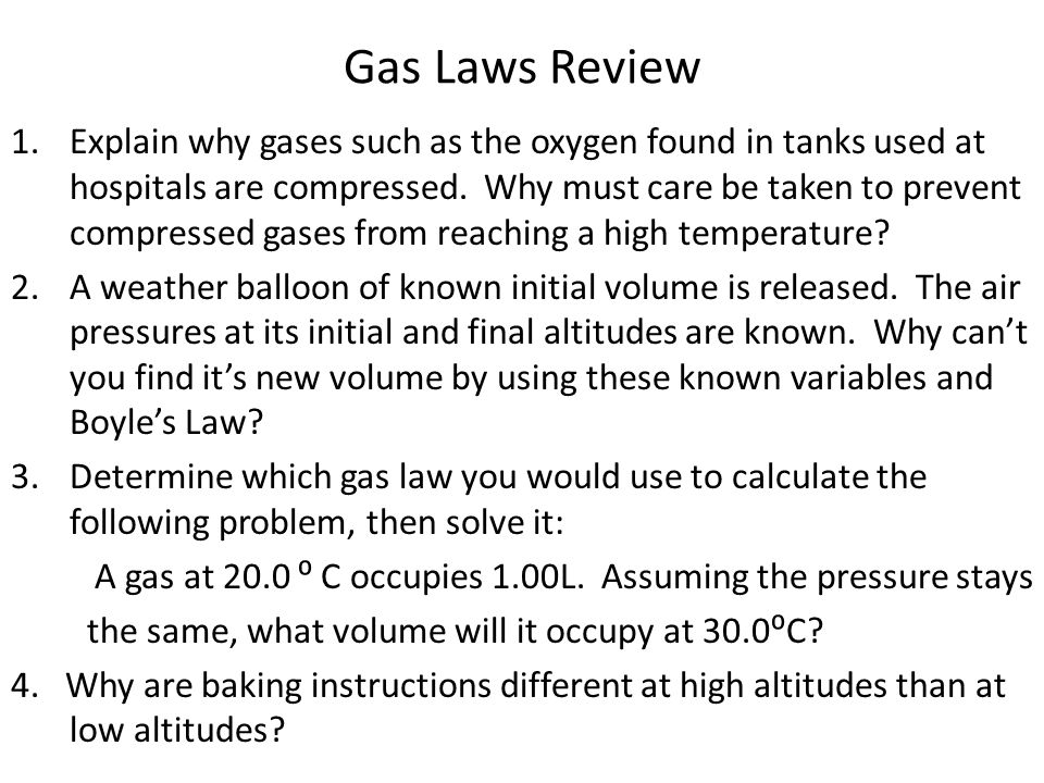 Gas Laws Review