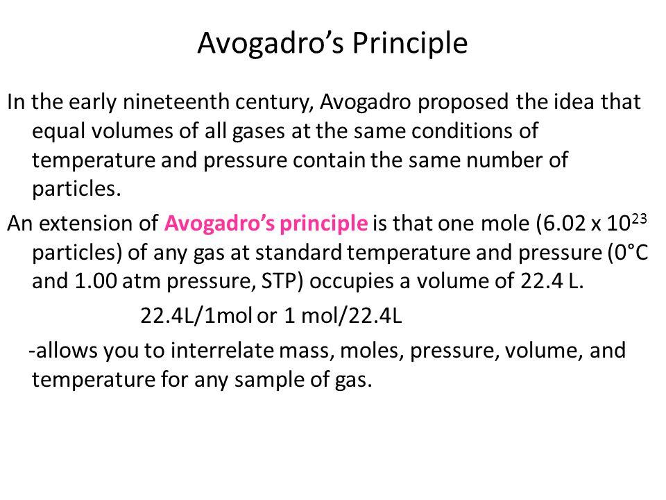 Avogadro's Principle