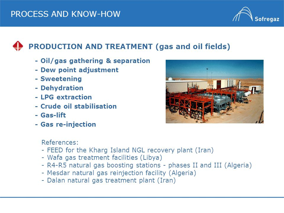 PROCESS AND KNOW-HOW PRODUCTION AND TREATMENT (gas and oil fields)