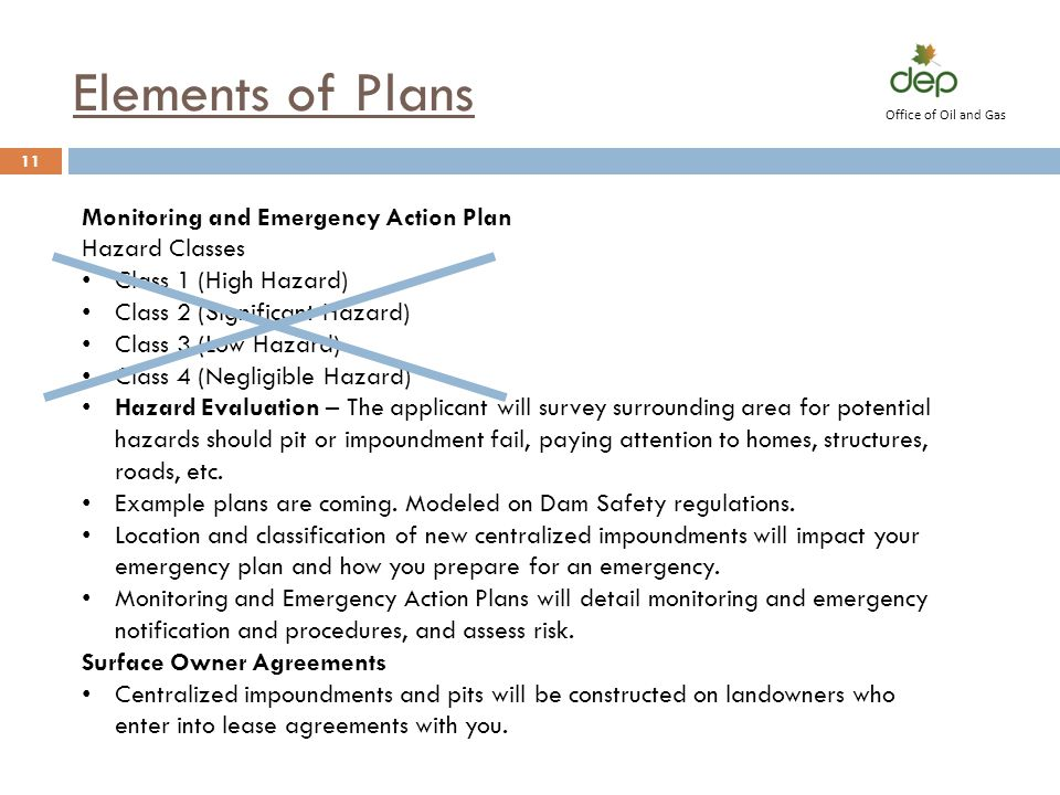 Elements of Plans Monitoring and Emergency Action Plan Hazard Classes