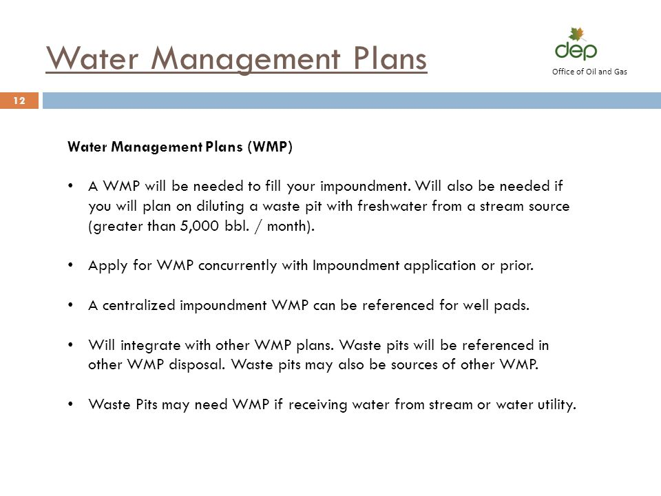 Water Management Plans