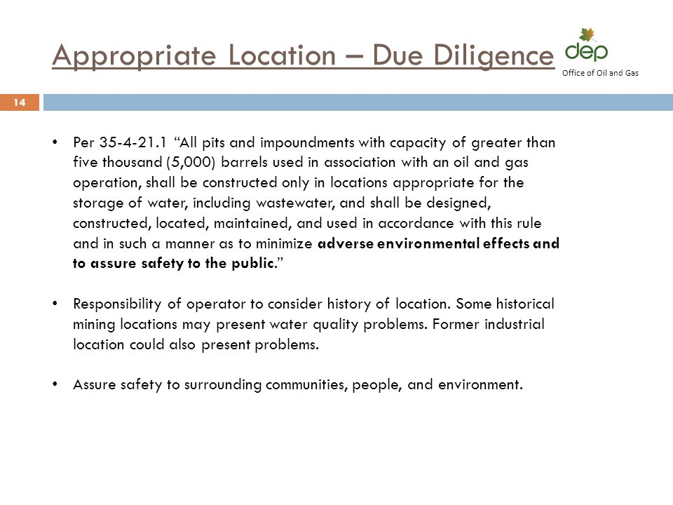 Appropriate Location – Due Diligence
