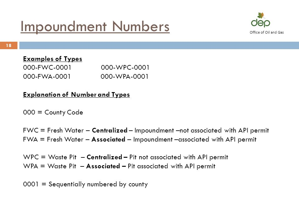 Impoundment Numbers Examples of Types 000-FWC-0001 000-WPC-0001