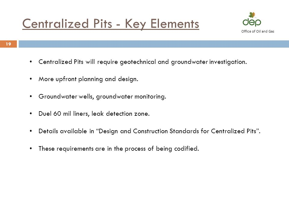 Centralized Pits - Key Elements