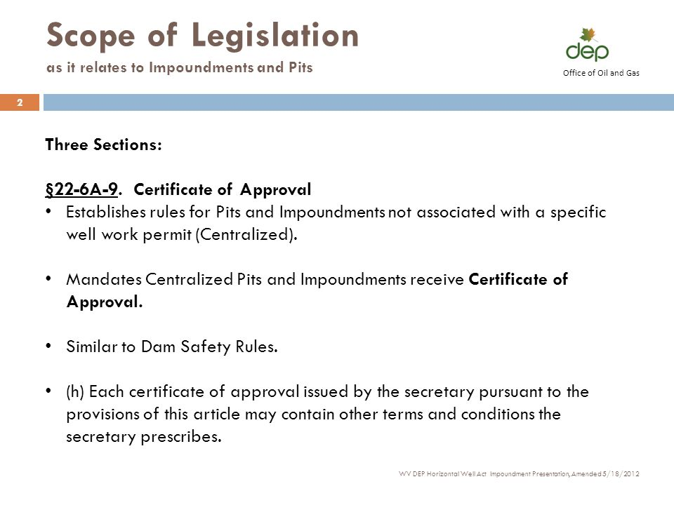 Scope of Legislation as it relates to Impoundments and Pits