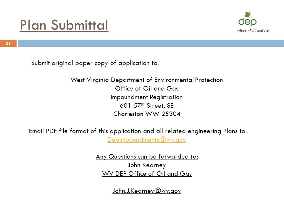 Plan Submittal Submit original paper copy of application to: