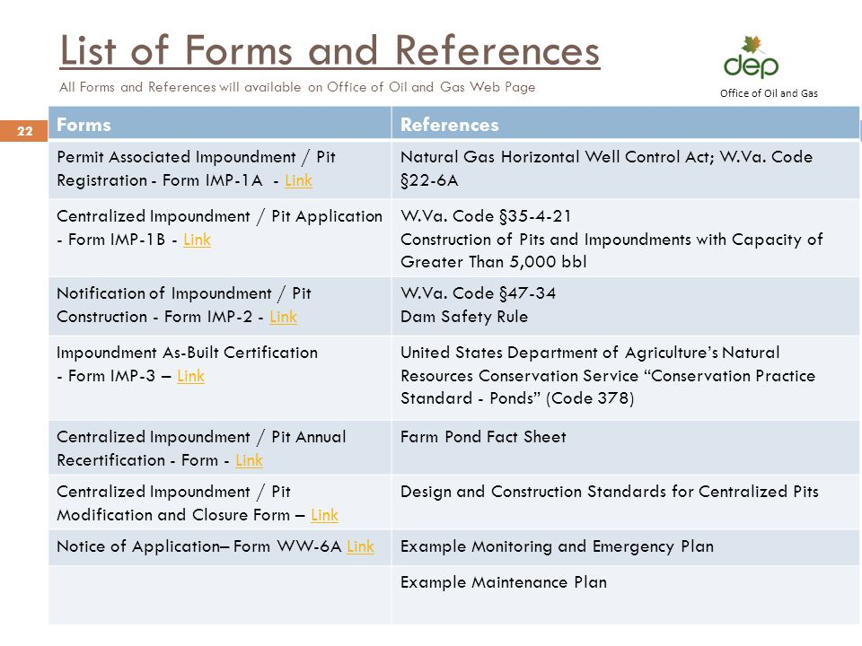 List of Forms and References All Forms and References will available on Office of Oil and Gas Web Page