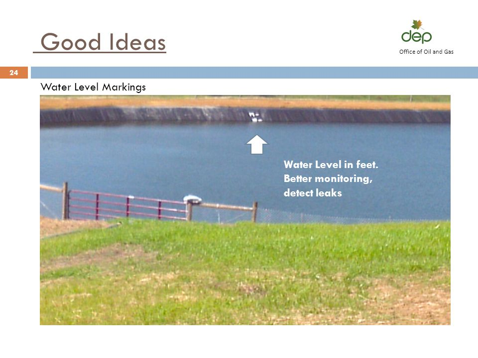 Good Ideas Water Level Markings Water Level in feet.