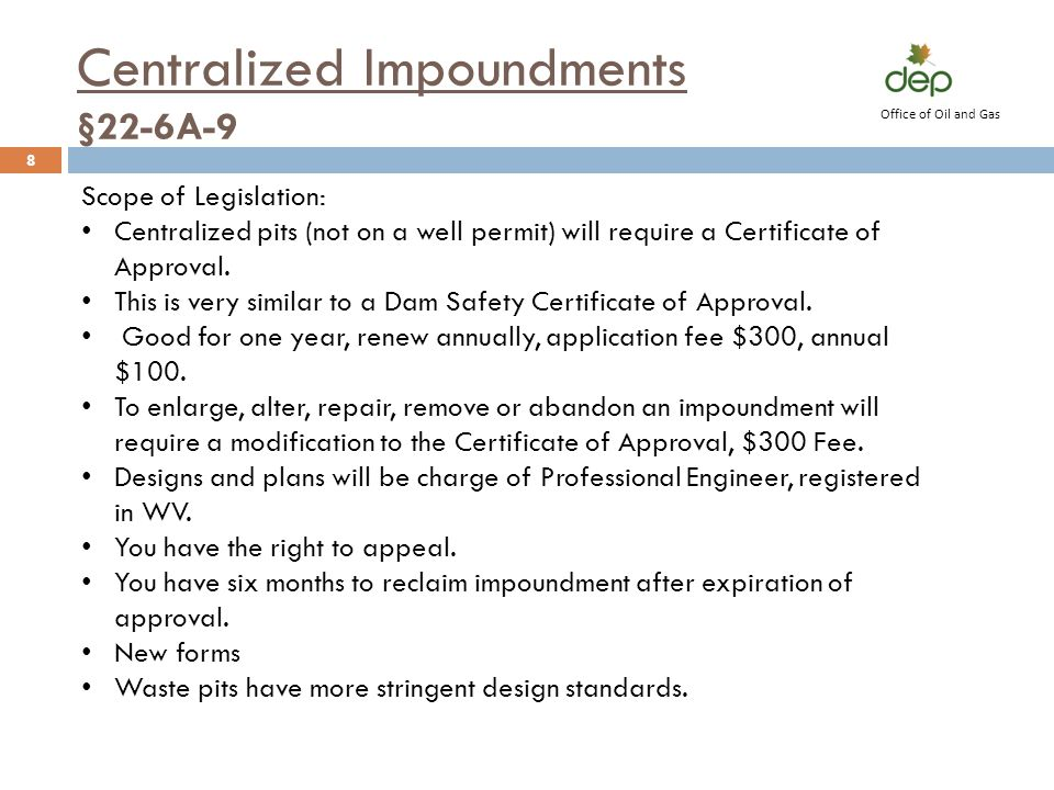 Centralized Impoundments §22-6A-9