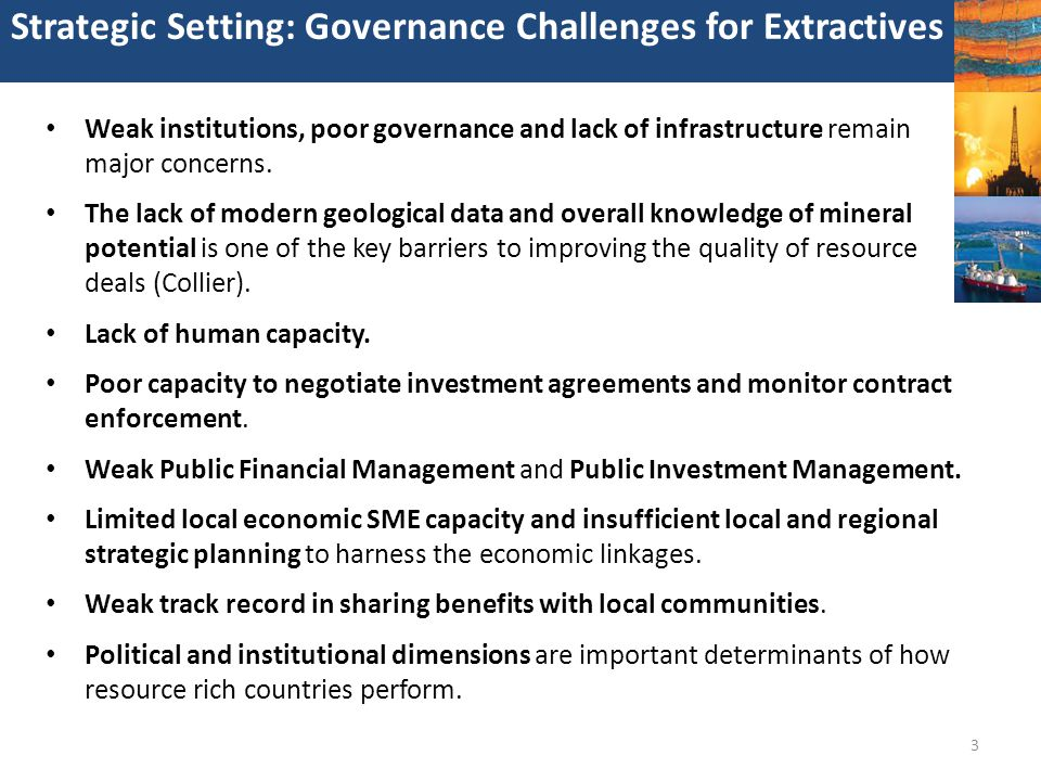 Strategic Setting: Governance Challenges for Extractives