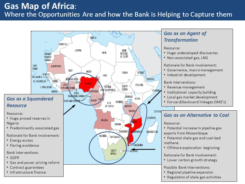 Gas Map of Africa: Where the Opportunities Are and how the Bank is Helping to Capture them. Gas as an Agent of Transformation.