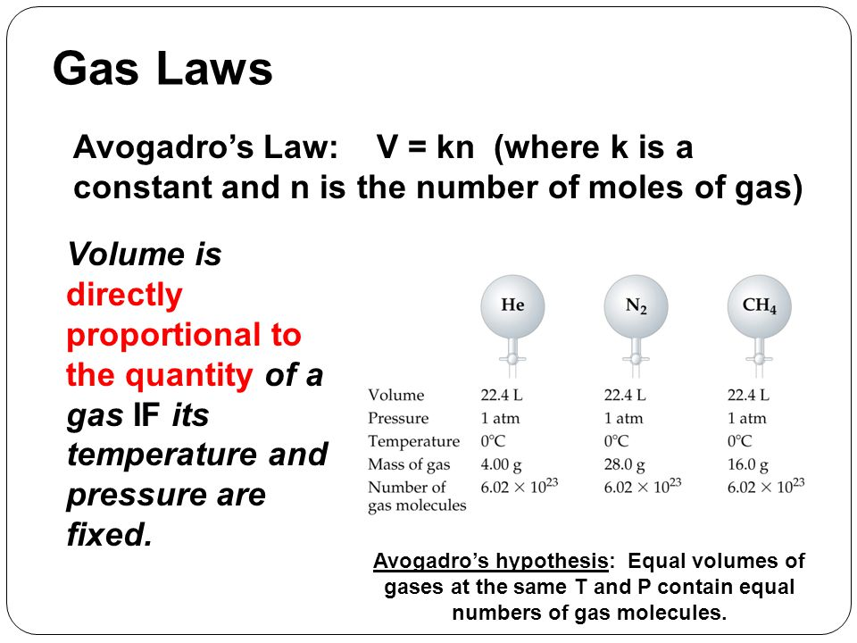 Gas Laws Avogadro's Law: V = kn (where k is a constant and n is the number of moles of gas)