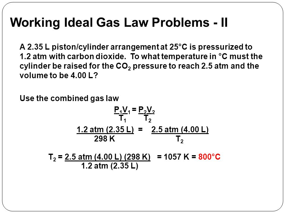 Working Ideal Gas Law Problems - II
